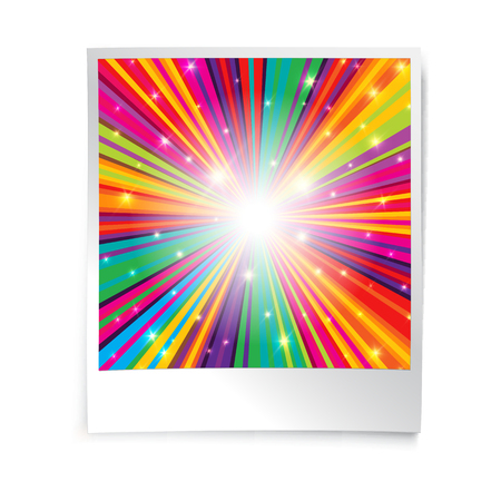 psychedelia: Instant blank photo template with rainbow psychedelic rays.  Retro vintage photo frame background. Illustration