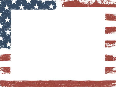 Vuoto tela grunge bianco su sfondo bandiera americana. Modello di design patriottico. Composizione orizzontale