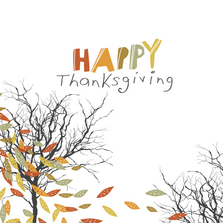 quirky: Happy Thanksgiving greeting card design.  fallen trees. Autumn fall illustration. For autumn and thanksgiving greeting cards designs. Hand drawn quirky vector illustration Illustration