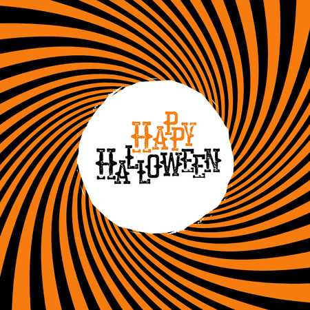 Happy Halloween Typography. On Orange Rays Hypnotic Background