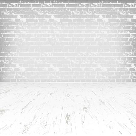 wood floor: Empty white room with wooden floor and brick wall Illustration