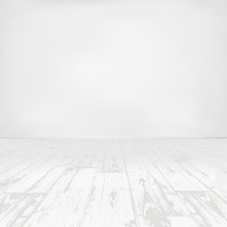 Empty white room with wooden floor