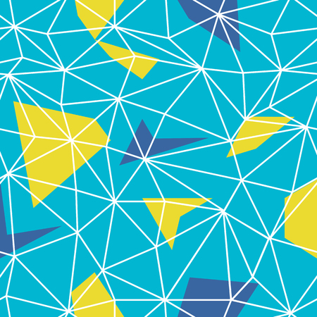 Triangles wire-frame seamless repeat pattern. Triangular facets. Vector pattern. Wireframe Background Blue and Yellow Seamless Pattern.