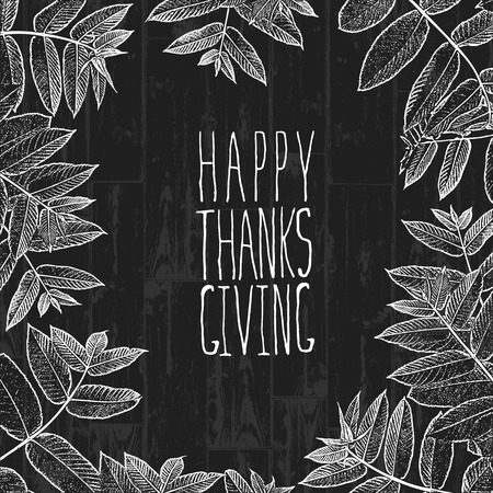wooden cut: Happy Thanksgiving day design cover. Holiday background monochrome template. Vector vintage illustration. Illustration