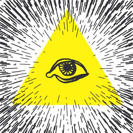 All seeing eye pyramid illustration. Freemason and spiritual.