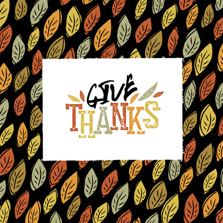 quirky: Happy Thanksgiving greeting card design.  fallen leaves.  For autumn and thanksgiving greeting cards designs. Hand drawn quirky vector illustration Illustration