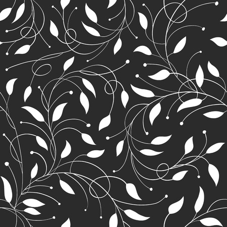 laconic: Seamless Floral Monochrome Vector Pattern