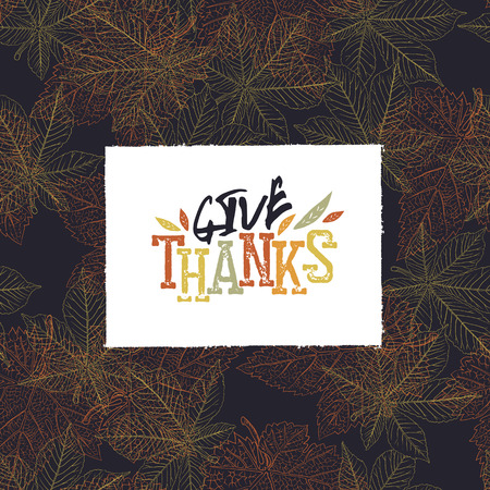 postcard design: Give Thanks Postcard. Happy Thanksgiving greeting card design Illustration