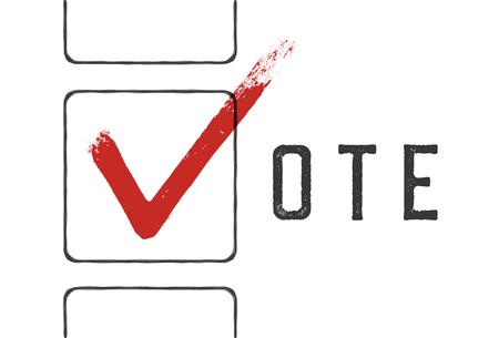 checkbox: Grunge red checkmarks in checkbox. Vote concept illustration