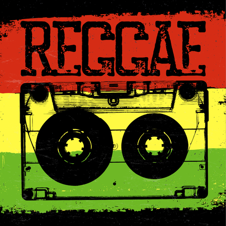 Audiocassette and Reggae lettering. Vector reggae design with audiocassette on rastafarian grunge background