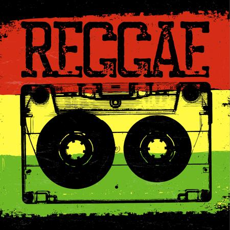 Audiocassette and Reggae lettering. Vector reggae design with audiocassette on rastafarian grunge background