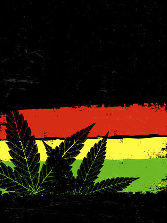 legalize: Marijuana silhouette. Rastafarian flag grunge background. With space for text for your projects