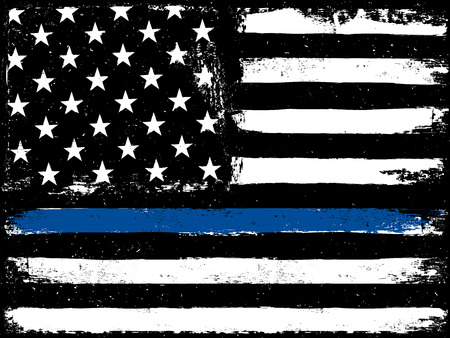 Thin Blue Line. Black Flag with Police Blue Line. Vectores
