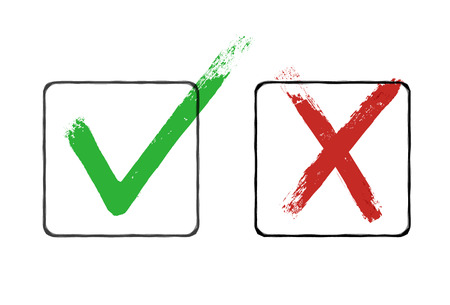 Grunge checkmarks in checkbox. Red and green. Vector clipart Stock Vector - 65265855