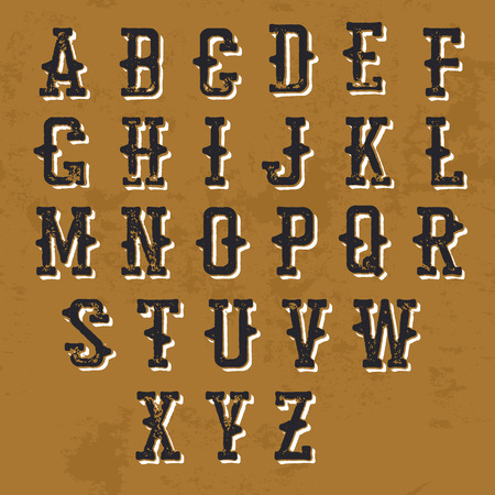 retro type: Vintage Grunge alphabet. Decorative display font. For vintage labels and any type retro designs