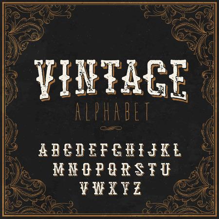 sherif: Vintage Western alphabet. Decorative vintage alphabet. With Art frame border. On the blackboard background. Vintage letters. For vintage labels and any type retro designs