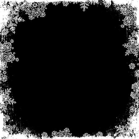 edge: Snowflakes white frame silhouette. Center area blank. Isolate on black