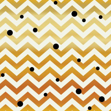 black dots: Gold Chevron seamless pattern. Zigzag lines and black dots