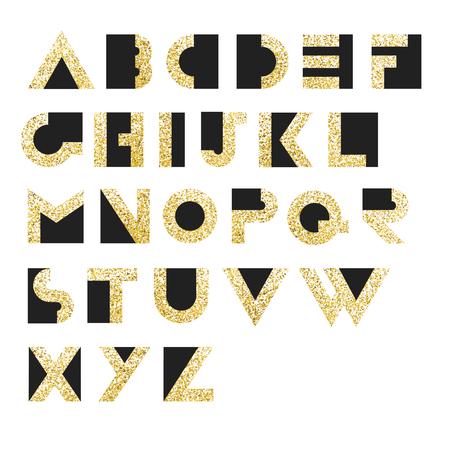 retro type: Gold Geometric Retro Alphabet.  Art deco style. Type, font, vintage vector typography
