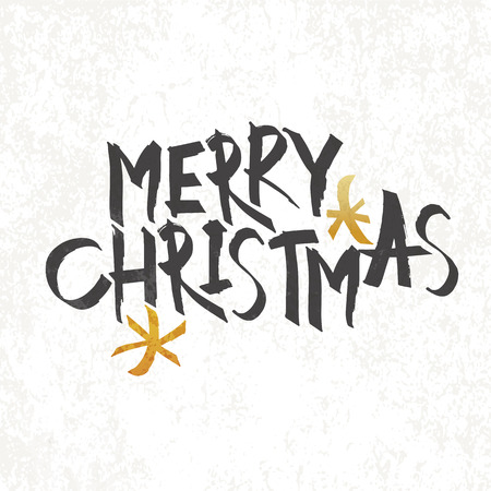 Merry Christmas Vintage Monochrome Lettering with gold snowflake symbol on background