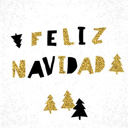 Feliz Navidad. Vector Merry Christmas card template in spanish language. Illustration
