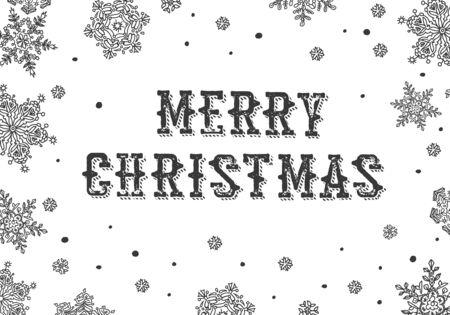 on white: Merry Christmas Greeting. Black and white Illustration