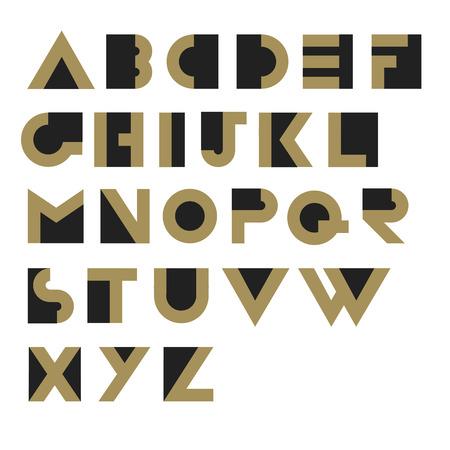 retro type: Geometric Retro Alphabet.  Art deco style. Type, font, vintage vector typography Illustration