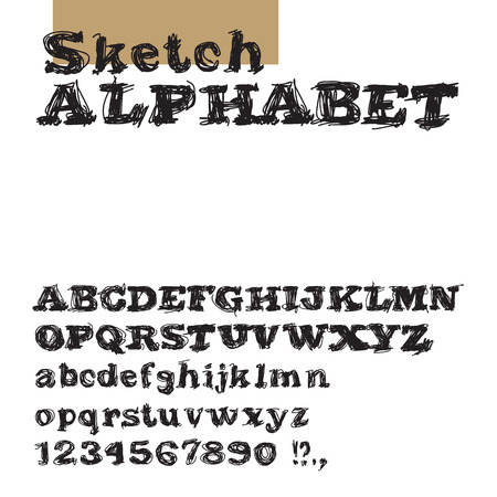 hand pen: Sketch alphabet.