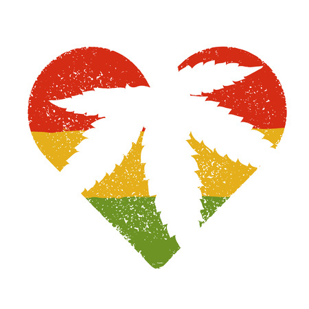 Marijuana silhouette in heart shape. Vector marijuana leaf and rastafarian flag grunge background