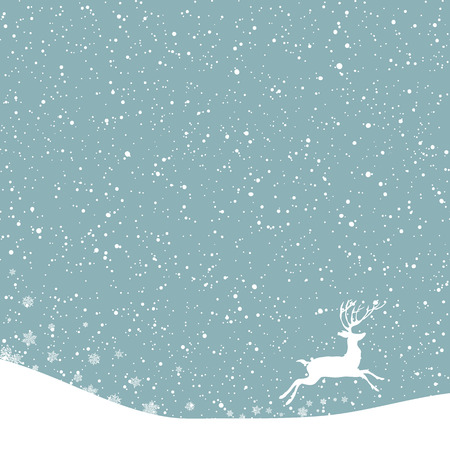 postcard background: Christmas postcard. Vector background with white deer under snowfall