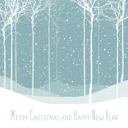 white winter: Merry Christmas postcard. Calm winter scene. Vector background with white tree silhouettes under snowfall. Calm winter forest. Snowfall