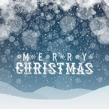 snowdrifts: Merry Christmas Abstract Background. Blue snowdrifts and night sky. Snowfall Illustration