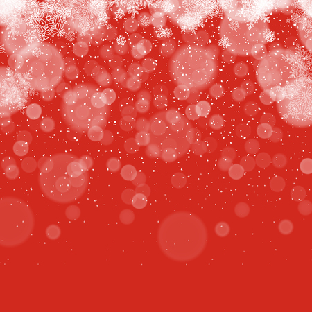 snow fall: Merry Christmas Abstract Background. Snowflakes pattern. Snowy holiday background. Snow fall. On red. Illustration