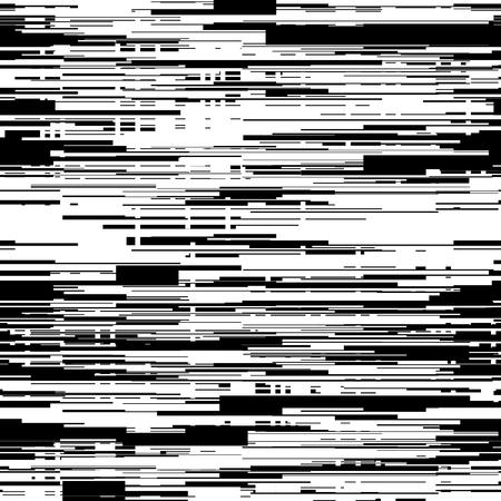 lineas horizontales: Resumen negro y fondo blanco con efecto de interferencia, distorsión, textura fluida, líneas horizontales aleatorios. Ilustración del vector.