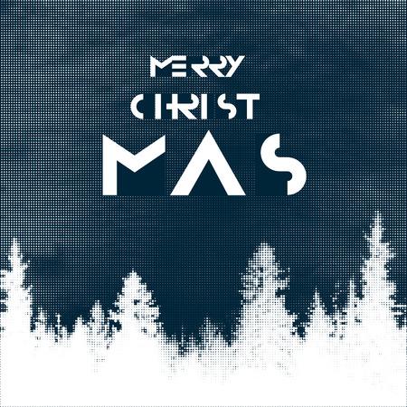 postcard design: Merry Christmas Postcard design. Halftone forest background