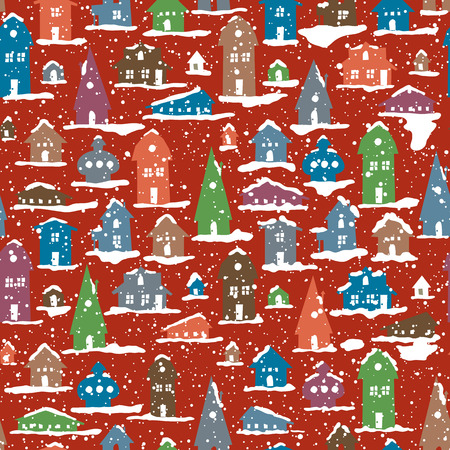 Christmas Snowy Village. Calm scene. Snowfall. Seamless Background. Vintage Color Houses. Vector Illustration. Old town background. New Year Postcard