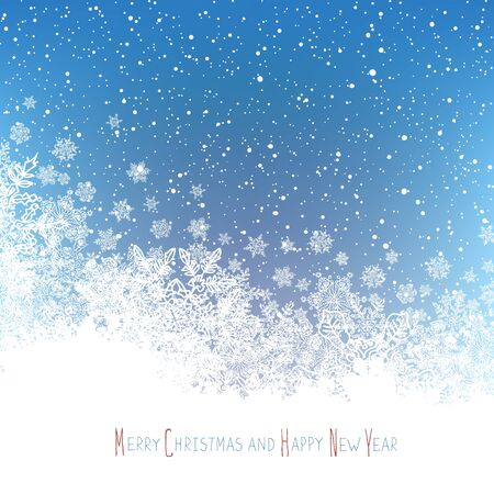edge design: Christmas Postcard. New Year Greeting. Isolated downside area for greeting. Blue winter snowfall background. Vector illustration. Illustration