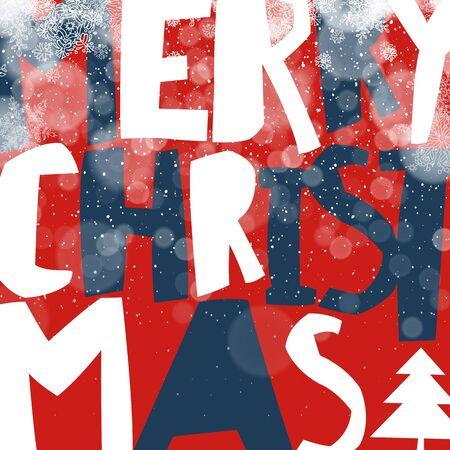 postcard design: Merry Christmas Greeting Card. Postcard xmas design. Holiday lights and snowfall. Vector illustration