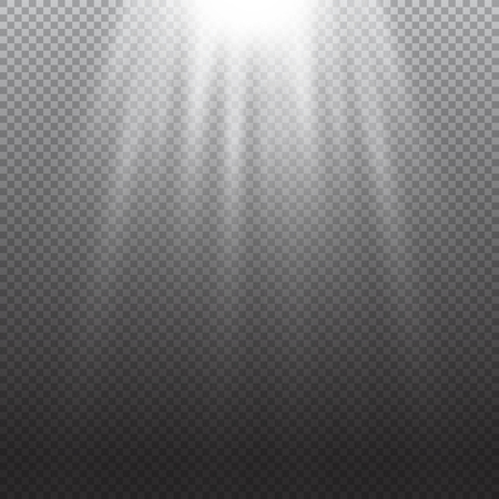 sunrays: Light effect. Rays burst light. Vector illustration on transparent.