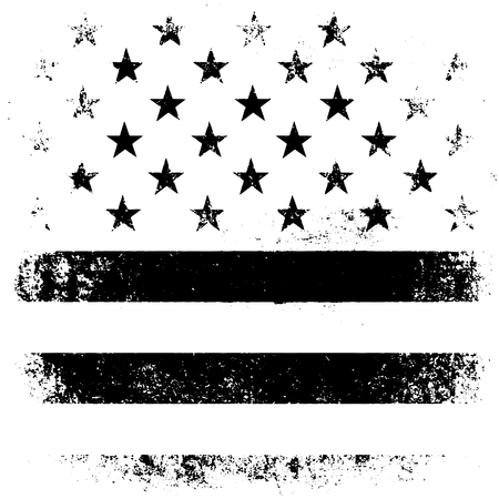 black american: American Flag Background. Grunge Aged Vector Illustration. Black and white.