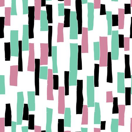 patchwork pattern: Seamless doodle blocks vertical stripes patchwork pattern Illustration
