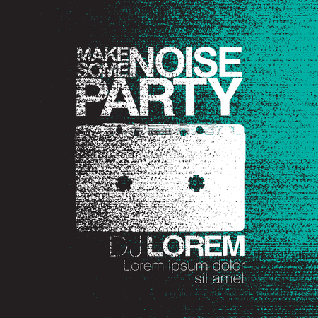no signal: Make some noise. Night Party flyer. Black and white. No signal background. Vector illustration.
