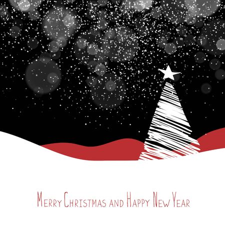 postcard background: Merry Christmas and Happy New Year postcard. Christmas Tree. Xmas postcard template. Vector background with white tree silhouettes under snowfall. Illustration