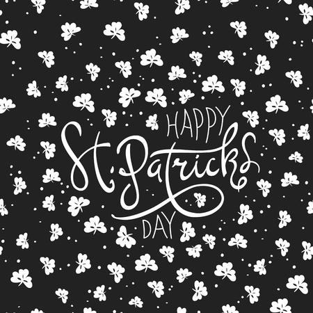 celtic background: Happy Saint Patricks Day logotype. Celebration design for March, 17th. Hand drawn lettering typography. Beer festival badge Illustration