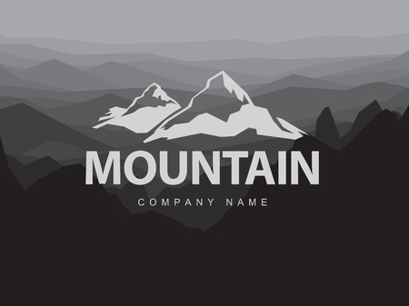 hill top: Mountains logo template with abstract peaks background. Logotype on mountain monochrome abstract background. Mountaineering and Traveling illustration. Illustration