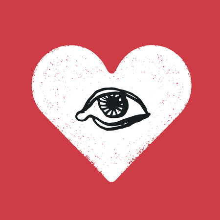 red eye: Eye symbol inside the heart. Romance symbol concept. Illustration