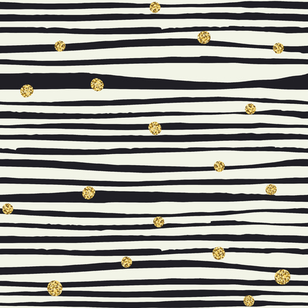 Black Brush lines and Golden Dots. Seamless pattern.