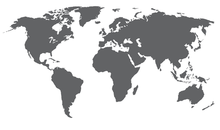 World map vector illustration. Grey color, isolated on white.