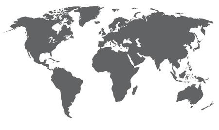 Wereldkaart vectorillustratie. Grijze kleur, geïsoleerd op wit.
