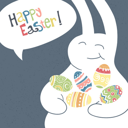 kid smile: Greeting card with with white Easter rabbit. Funny bunny. Easter Bunny. Illustration